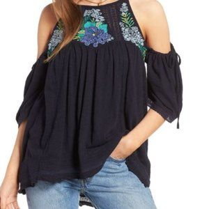 Free People Fast Times Cold Shoulder Top Navy XS